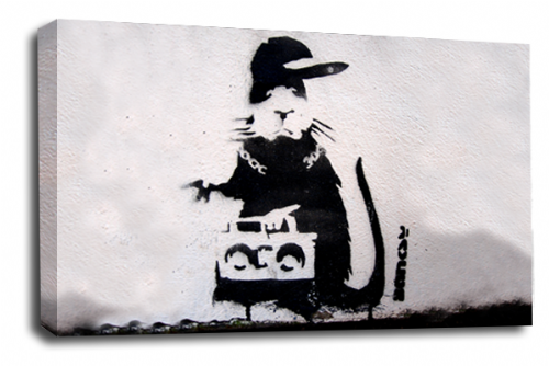 Banksy Art Gangsta Rap Rat Wall Canvas Peace Love Picture